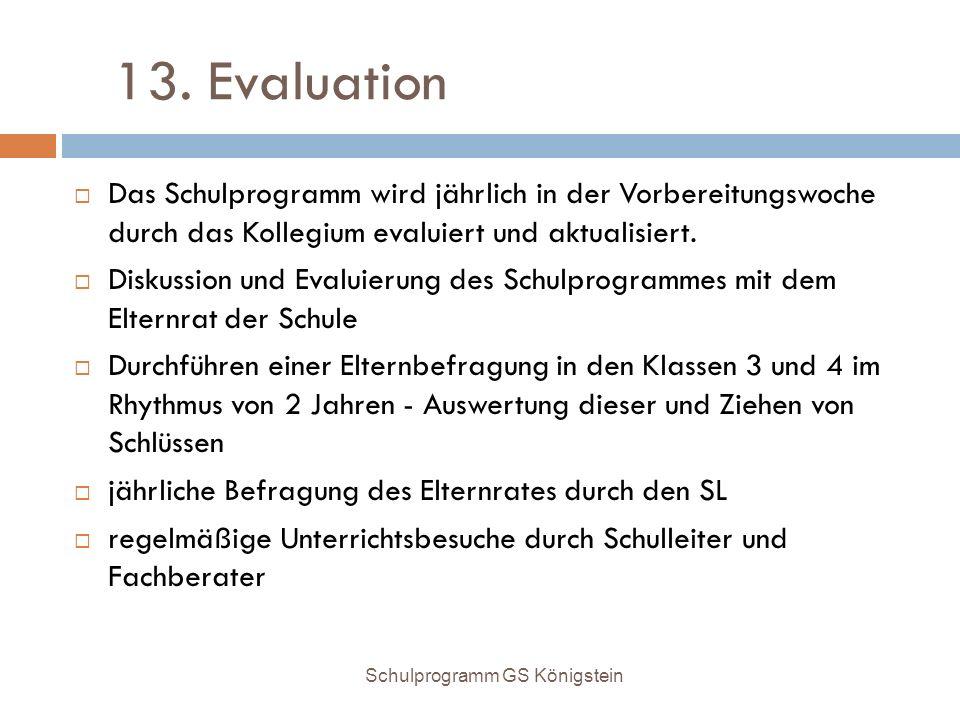 13. Evaluation  Das Schulprogramm wird jährlich in der Vorbereitungswoche durch das Kollegium evaluiert und aktualisiert.  Diskussion und Evaluierun