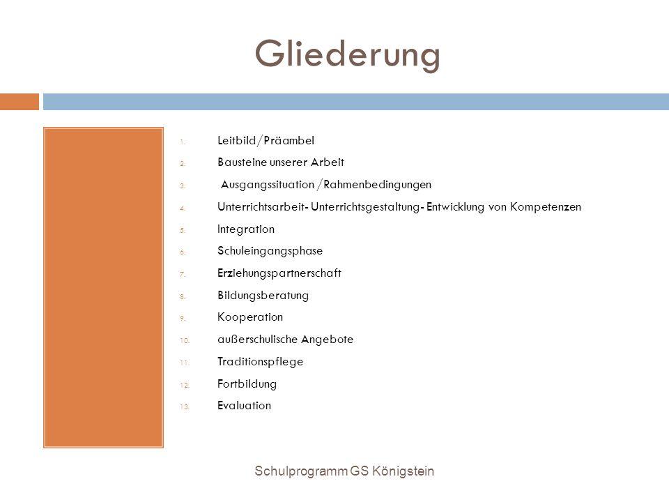 Gliederung 1. Leitbild/Präambel 2. Bausteine unserer Arbeit 3. Ausgangssituation /Rahmenbedingungen 4. Unterrichtsarbeit- Unterrichtsgestaltung- Entwi