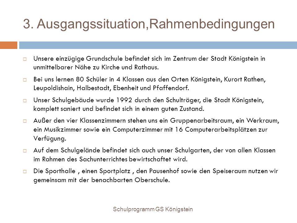 3. Ausgangssituation,Rahmenbedingungen  Unsere einzügige Grundschule befindet sich im Zentrum der Stadt Königstein in unmittelbarer Nähe zu Kirche un