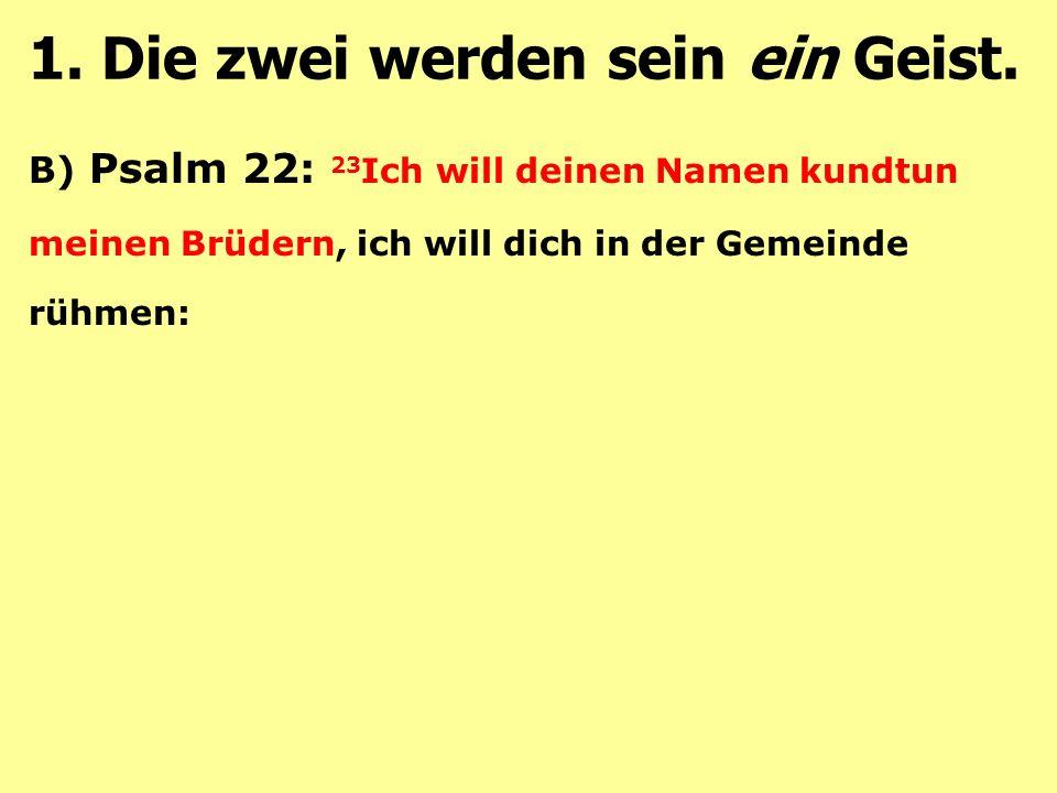 B) Psalm 22: 23 Ich will deinen Namen kundtun meinen Brüdern, ich will dich in der Gemeinde rühmen: 1.