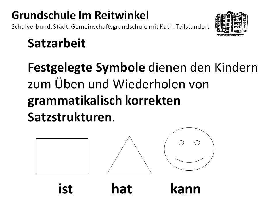 Satzarbeit Festgelegte Symbole dienen den Kindern zum Üben und Wiederholen von grammatikalisch korrekten Satzstrukturen.