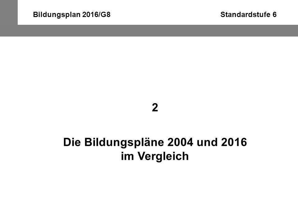 Bildungsplan 2016/G8 Standardstufe 6 2 Die Bildungspläne 2004 und 2016 im Vergleich