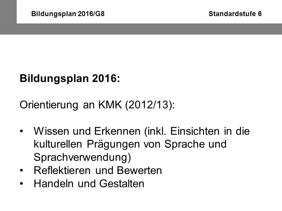 Bildungsplan 2016/G8 Standardstufe 6 Bildungsplan 2016: Orientierung an KMK (2012/13): Wissen und Erkennen (inkl. Einsichten in die kulturellen Prägun