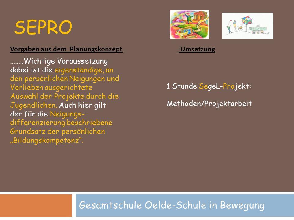 SEPRO Gesamtschule Oelde-Schule in Bewegung 1 Stunde SegeL-Projekt: Methoden/Projektarbeit ……..Wichtige Voraussetzung dabei ist die eigenständige, an