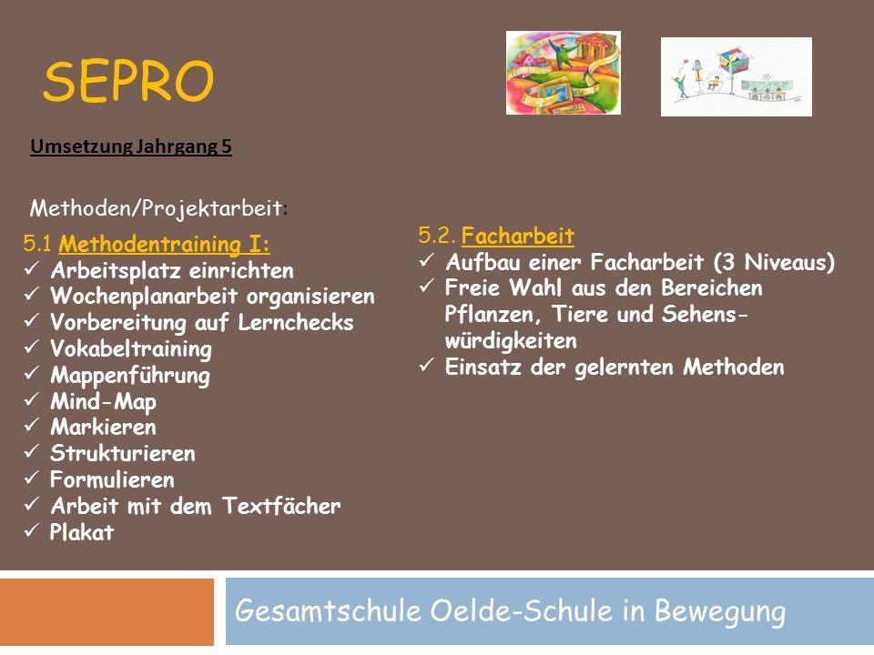 SEPRO Gesamtschule Oelde-Schule in Bewegung Methoden/Projektarbeit: 5.1 Methodentraining I: Arbeitsplatz einrichten Wochenplanarbeit organisieren Vorb