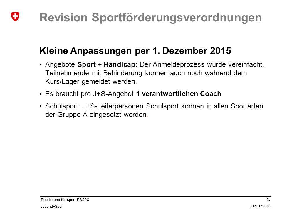 12 Januar 2016 Bundesamt für Sport BASPO Jugend+Sport Revision Sportförderungsverordnungen Kleine Anpassungen per 1. Dezember 2015 Angebote Sport + Ha