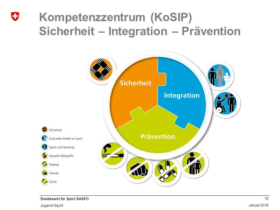 16 Januar 2016 Bundesamt für Sport BASPO Jugend+Sport Kompetenzzentrum (KoSIP) Sicherheit – Integration – Prävention