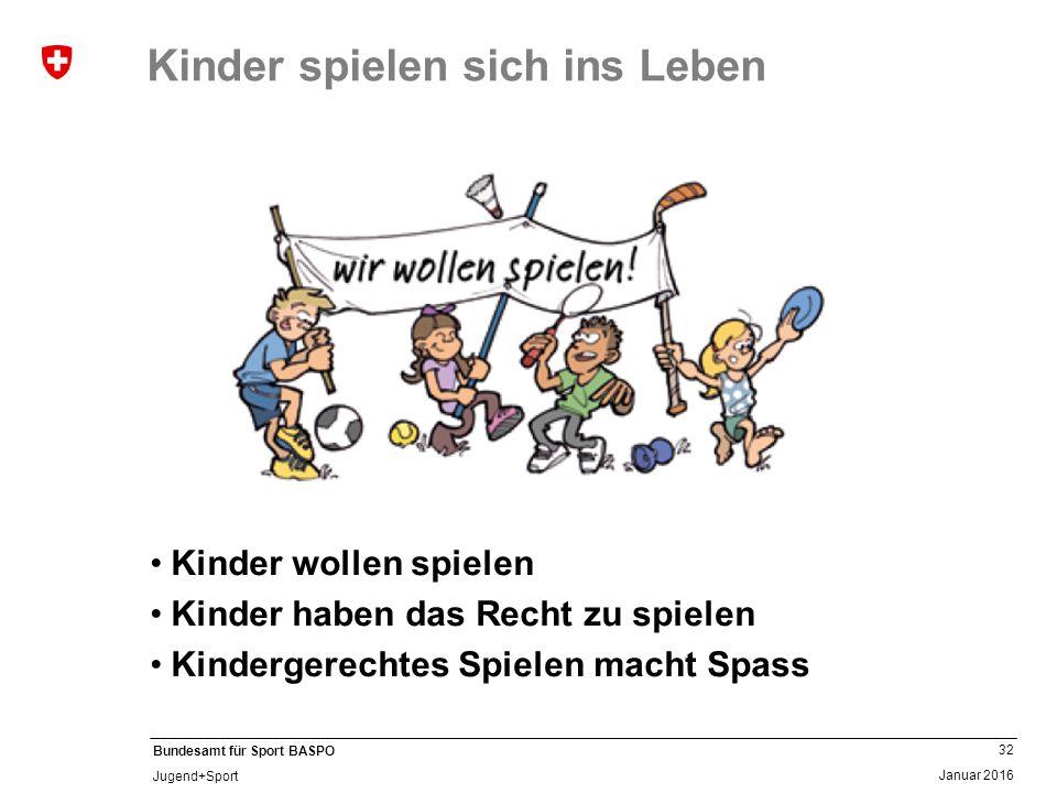 32 Januar 2016 Bundesamt für Sport BASPO Jugend+Sport Kinder spielen sich ins Leben Kinder wollen spielen Kinder haben das Recht zu spielen Kindergerechtes Spielen macht Spass
