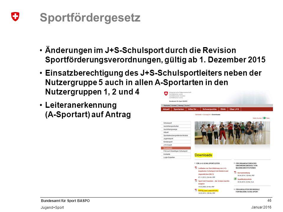 46 Januar 2016 Bundesamt für Sport BASPO Jugend+Sport Sportfördergesetz Änderungen im J+S-Schulsport durch die Revision Sportförderungsverordnungen, gültig ab 1.