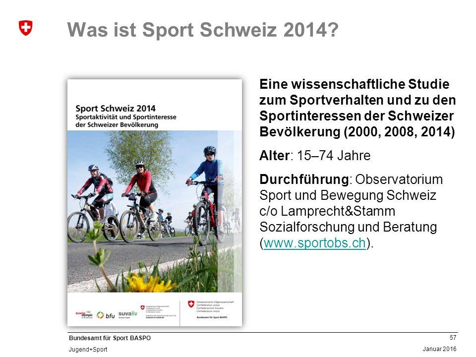 57 Januar 2016 Bundesamt für Sport BASPO Jugend+Sport Was ist Sport Schweiz 2014? Eine wissenschaftliche Studie zum Sportverhalten und zu den Sportint