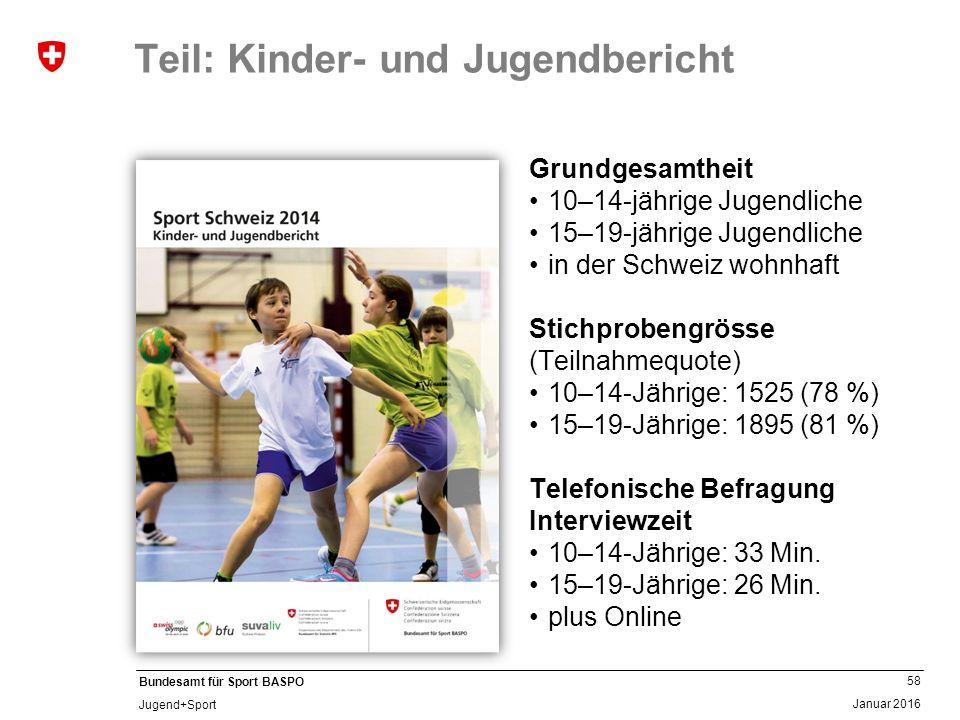 58 Januar 2016 Bundesamt für Sport BASPO Jugend+Sport Teil: Kinder- und Jugendbericht Grundgesamtheit 10–14-jährige Jugendliche 15–19-jährige Jugendliche in der Schweiz wohnhaft Stichprobengrösse (Teilnahmequote) 10–14-Jährige: 1525 (78 %) 15–19-Jährige: 1895 (81 %) Telefonische Befragung Interviewzeit 10–14-Jährige: 33 Min.