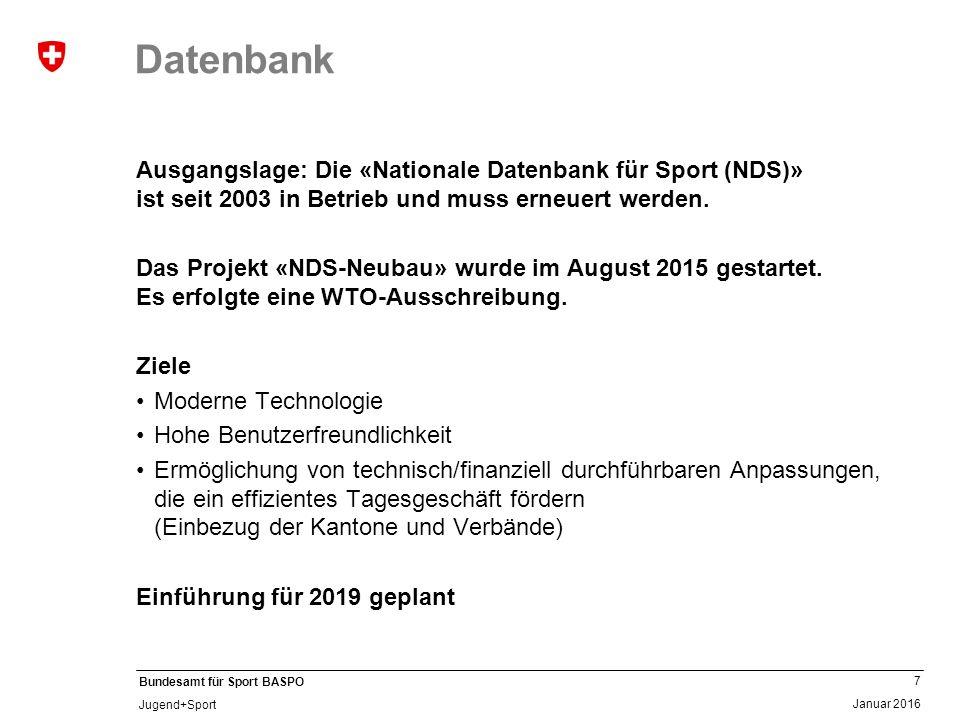 7 Januar 2016 Bundesamt für Sport BASPO Jugend+Sport Datenbank Ausgangslage: Die «Nationale Datenbank für Sport (NDS)» ist seit 2003 in Betrieb und muss erneuert werden.