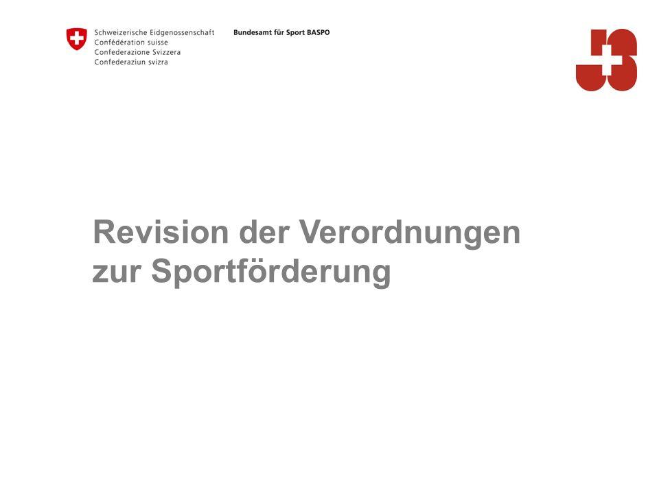 10 Januar 2016 Bundesamt für Sport BASPO Jugend+Sport Revision Sportförderungsverordnungen Kleine Anpassungen per 1.