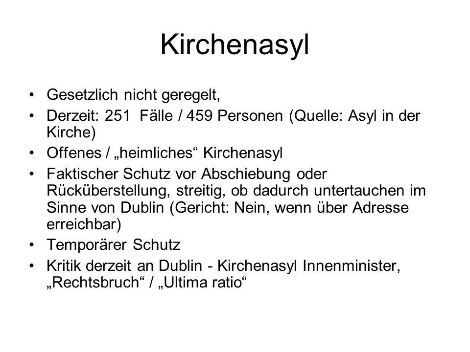 """Kirchenasyl Gesetzlich nicht geregelt, Derzeit: 251 Fälle / 459 Personen (Quelle: Asyl in der Kirche) Offenes / """"heimliches"""" Kirchenasyl Faktischer Sc"""