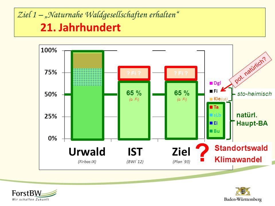 "Ziel 1 – ""Naturnahe Waldgesellschaften erhalten"" 21. Jahrhundert 0% 25% 50% 75% 100% Urwald (Firbas IX) IST (BWI ' 12) Ziel (Plan ' 93) Dgl Fi 65 % (o"