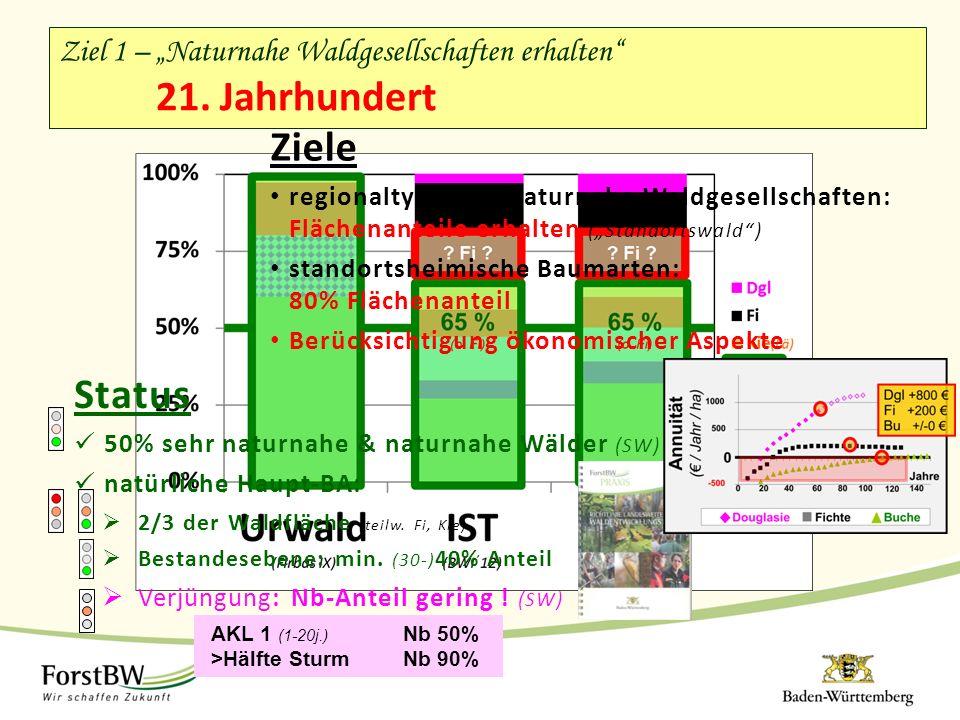 """Ziel 1 – """"Naturnahe Waldgesellschaften erhalten"""" 21. Jahrhundert Ziele regionaltypische, naturnahe Waldgesellschaften: Flächenanteile erhalten (""""Stand"""