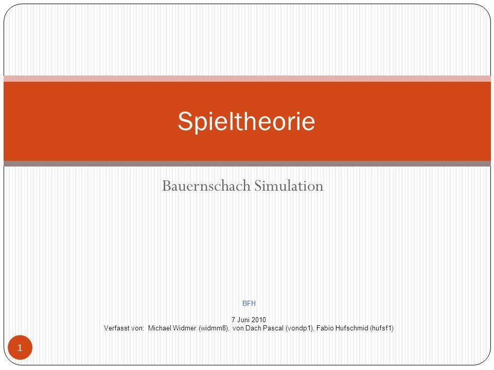 Bauernschach Simulation Spieltheorie BFH 7 Juni 2010 Verfasst von: Michael Widmer (widmm8), von Dach Pascal (vondp1), Fabio Hufschmid (hufsf1) 1