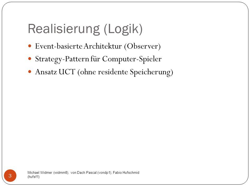 Realisierung (Logik) Michael Widmer (widmm8), von Dach Pascal (vondp1), Fabio Hufschmid (hufsf1) 3 Event-basierte Architektur (Observer) Strategy-Pattern für Computer-Spieler Ansatz UCT (ohne residente Speicherung)
