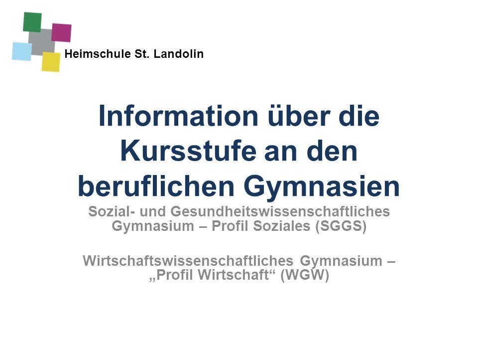 Heimschule St. Landolin Information über die Kursstufe an den beruflichen Gymnasien Sozial- und Gesundheitswissenschaftliches Gymnasium – Profil Sozia