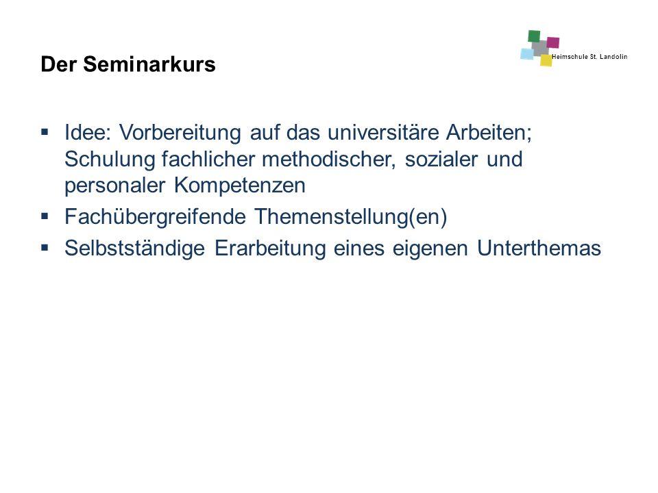 Heimschule St. Landolin Der Seminarkurs  Idee: Vorbereitung auf das universitäre Arbeiten; Schulung fachlicher methodischer, sozialer und personaler