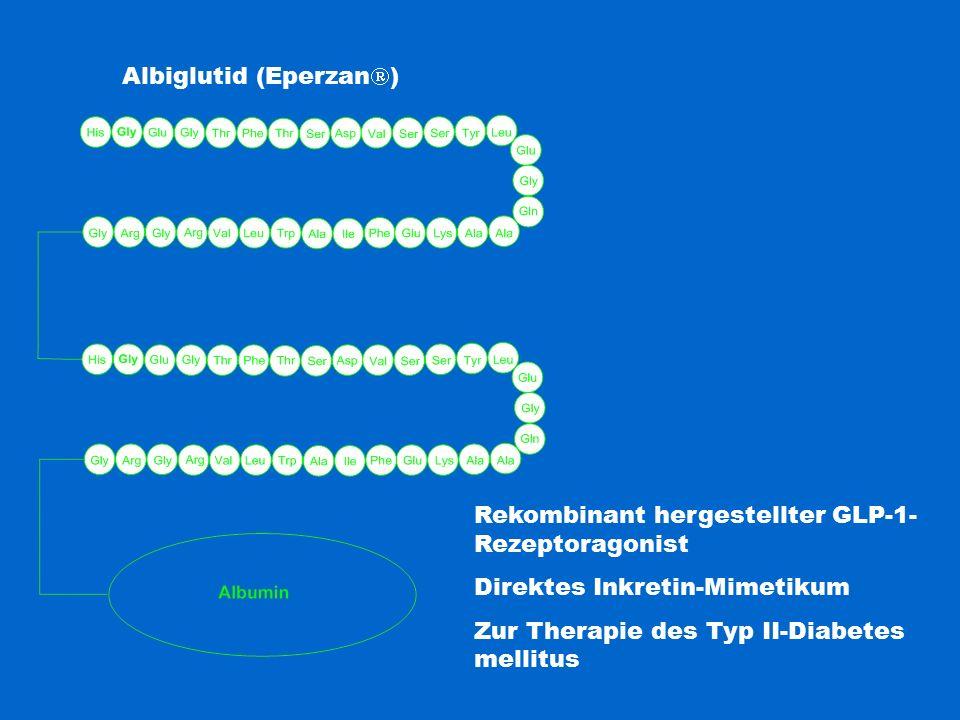 Albiglutid (Eperzan  ) Rekombinant hergestellter GLP-1- Rezeptoragonist Direktes Inkretin-Mimetikum Zur Therapie des Typ II-Diabetes mellitus