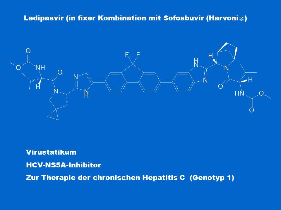 Ledipasvir (in fixer Kombination mit Sofosbuvir (Harvoni  ) Virustatikum HCV-NS5A-Inhibitor Zur Therapie der chronischen Hepatitis C (Genotyp 1)