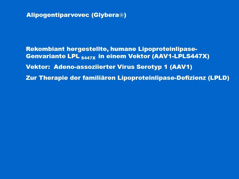 Alipogentiparvovec (Glybera  ) Rekombiant hergestellte, humane Lipoproteinlipase- Genvariante LPL S447X in einem Vektor (AAV1-LPLS447X) Vektor: Adeno-assoziierter Virus Serotyp 1 (AAV1) Zur Therapie der familiären Lipoproteinlipase-Defizienz (LPLD)