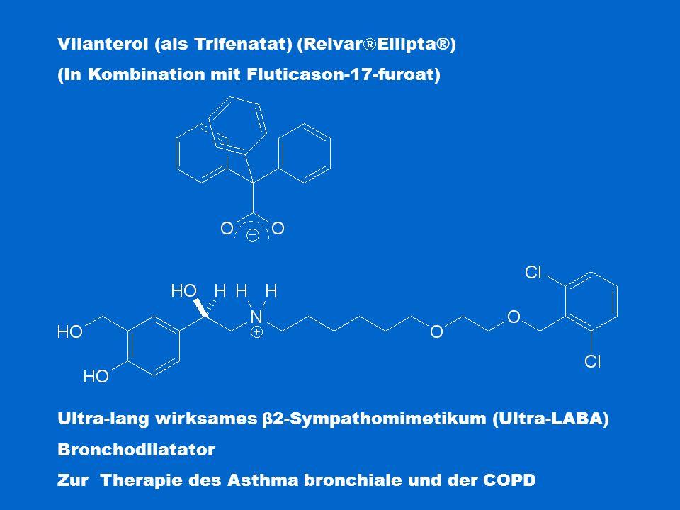 Vilanterol (als Trifenatat) (Relvar  Ellipta®) (In Kombination mit Fluticason-17-furoat) Ultra-lang wirksames β2-Sympathomimetikum (Ultra-LABA) Bronchodilatator Zur Therapie des Asthma bronchiale und der COPD