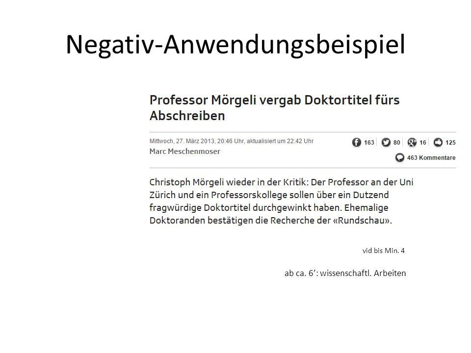 Negativ-Anwendungsbeispiel vid bis Min. 4 ab ca. 6': wissenschaftl. Arbeiten