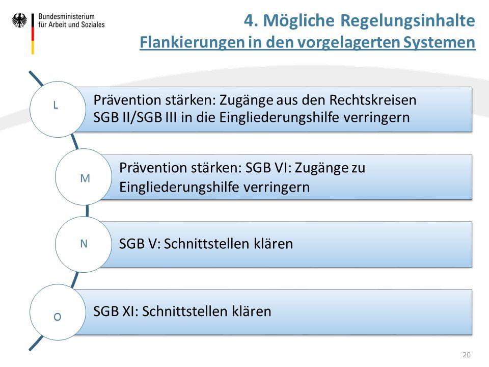 4. Mögliche Regelungsinhalte Flankierungen in den vorgelagerten Systemen Prävention stärken: Zugänge aus den Rechtskreisen SGB II/SGB III in die Eingl