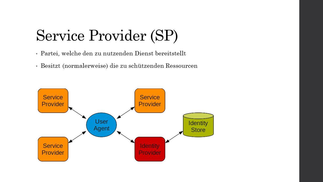 Service Provider (SP) Partei, welche den zu nutzenden Dienst bereitstellt Besitzt (normalerweise) die zu schützenden Ressourcen