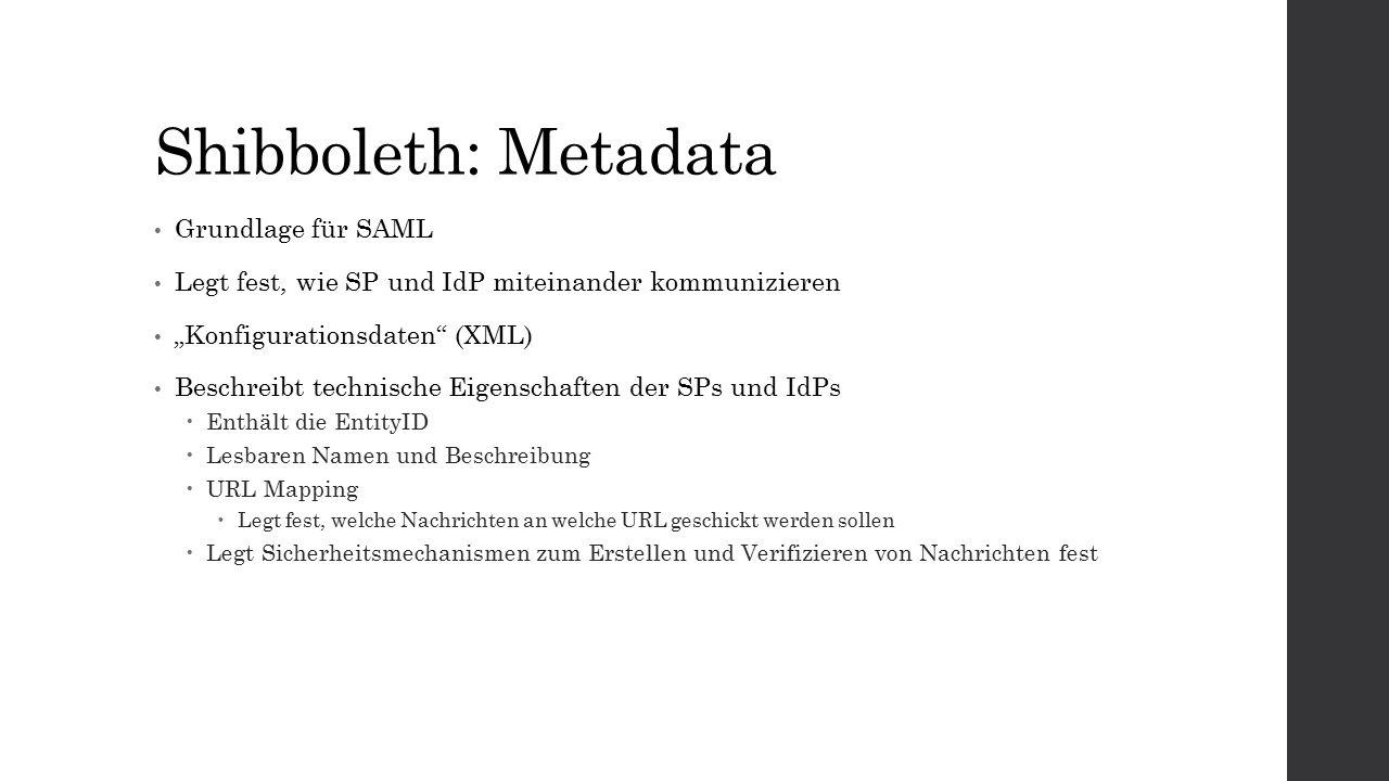"""Shibboleth: Metadata Grundlage für SAML Legt fest, wie SP und IdP miteinander kommunizieren """"Konfigurationsdaten (XML) Beschreibt technische Eigenschaften der SPs und IdPs  Enthält die EntityID  Lesbaren Namen und Beschreibung  URL Mapping  Legt fest, welche Nachrichten an welche URL geschickt werden sollen  Legt Sicherheitsmechanismen zum Erstellen und Verifizieren von Nachrichten fest"""