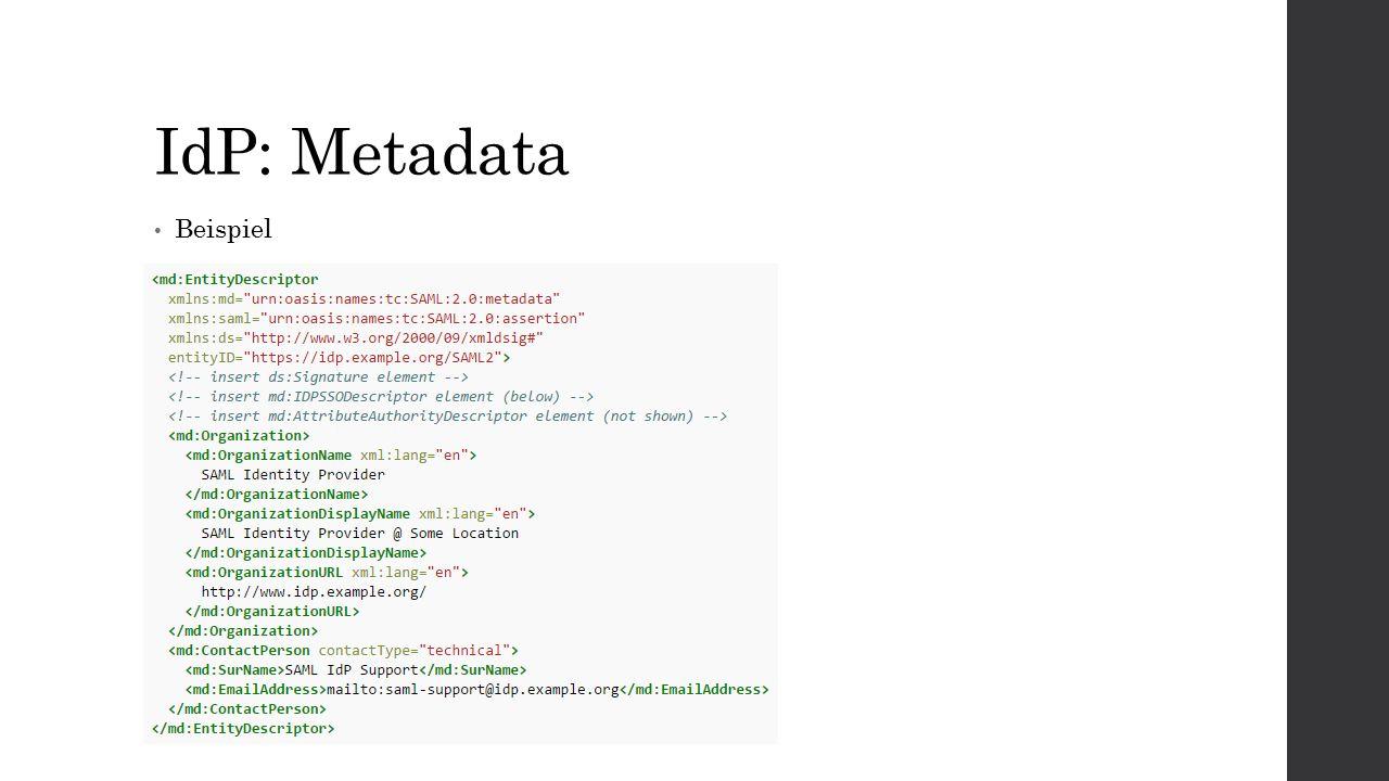 IdP: Metadata Beispiel