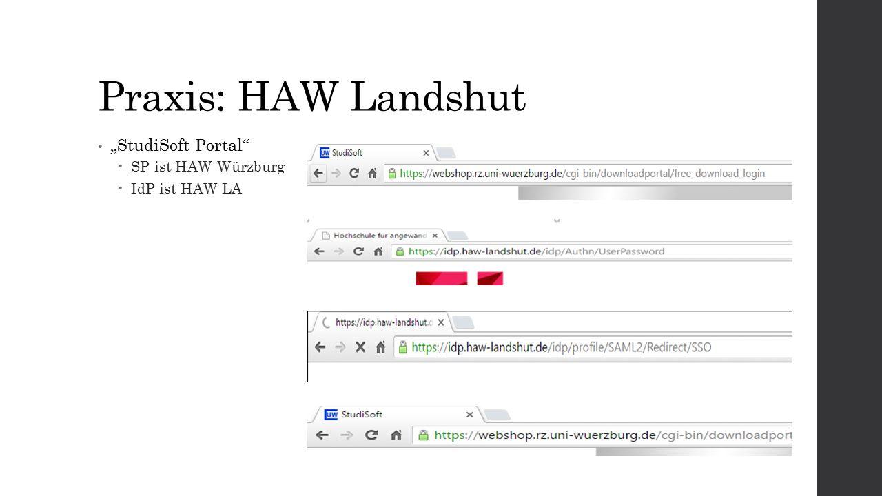 """Praxis: HAW Landshut """"StudiSoft Portal  SP ist HAW Würzburg  IdP ist HAW LA"""
