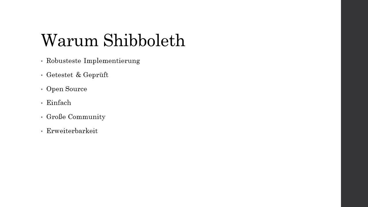 Warum Shibboleth Robusteste Implementierung Getestet & Geprüft Open Source Einfach Große Community Erweiterbarkeit