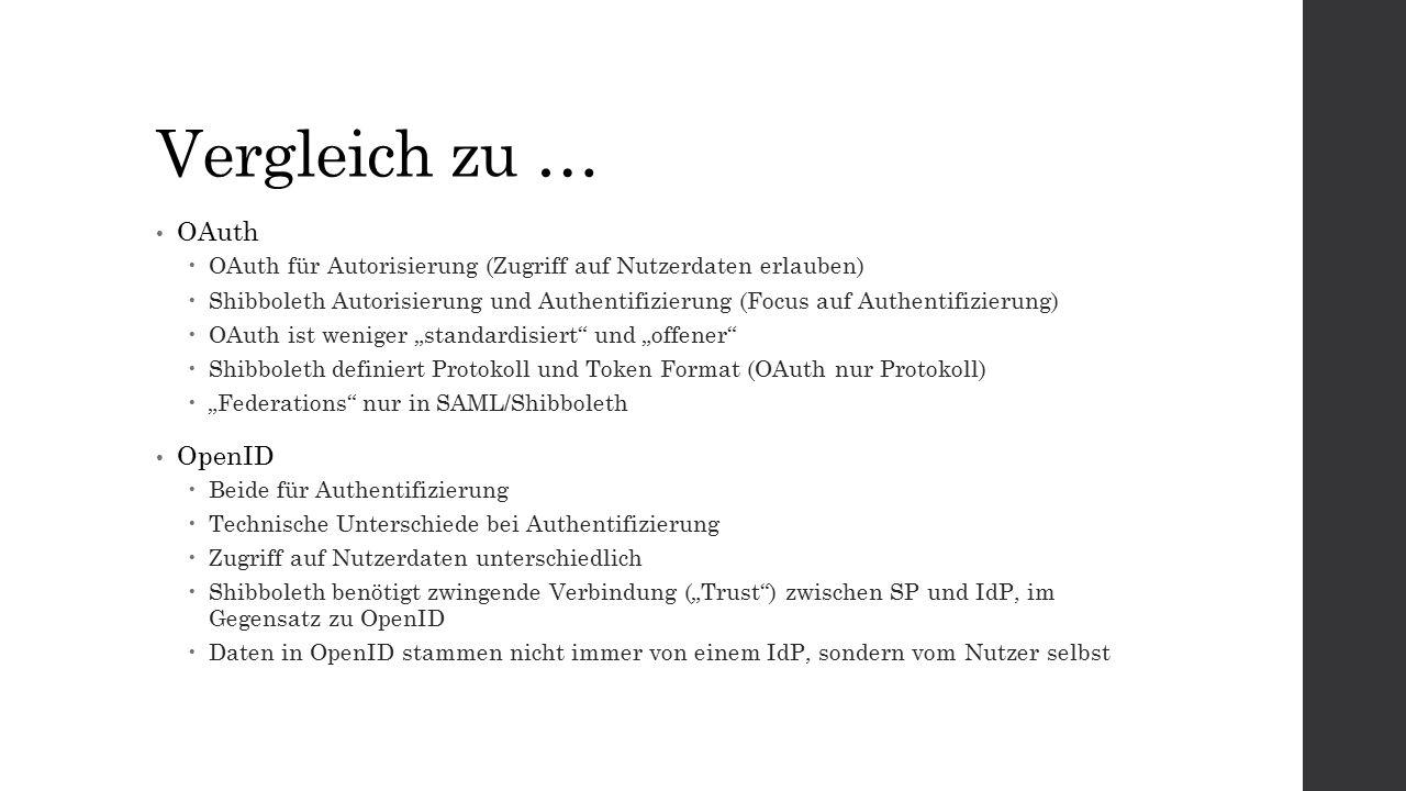 """Vergleich zu … OAuth  OAuth für Autorisierung (Zugriff auf Nutzerdaten erlauben)  Shibboleth Autorisierung und Authentifizierung (Focus auf Authentifizierung)  OAuth ist weniger """"standardisiert und """"offener  Shibboleth definiert Protokoll und Token Format (OAuth nur Protokoll)  """"Federations nur in SAML/Shibboleth OpenID  Beide für Authentifizierung  Technische Unterschiede bei Authentifizierung  Zugriff auf Nutzerdaten unterschiedlich  Shibboleth benötigt zwingende Verbindung (""""Trust ) zwischen SP und IdP, im Gegensatz zu OpenID  Daten in OpenID stammen nicht immer von einem IdP, sondern vom Nutzer selbst"""