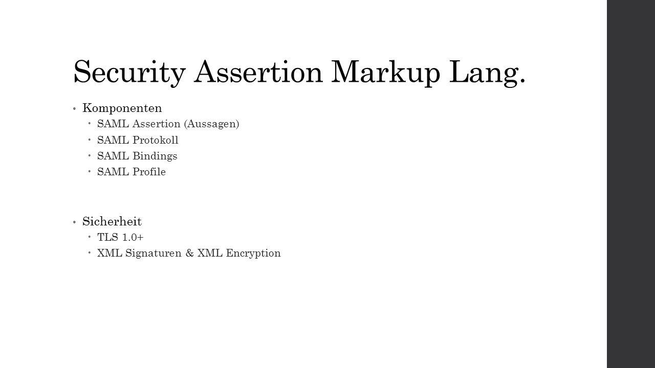 SAML: Assertion Assertion-Typen  Authentication Statements  Attribute Statements  Authorization Decision Statements Inhalte  Issuer  Signature  Subject  Conditions  AuthnStatement  AttributeStatement