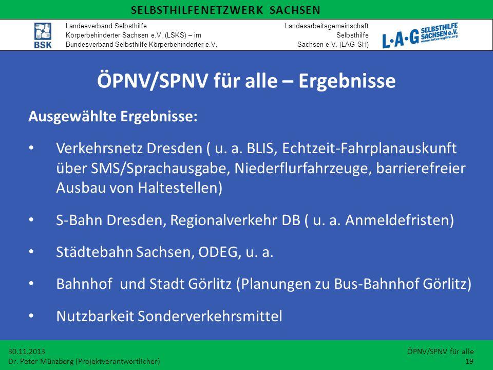 Ausgewählte Ergebnisse: Verkehrsnetz Dresden ( u. a.