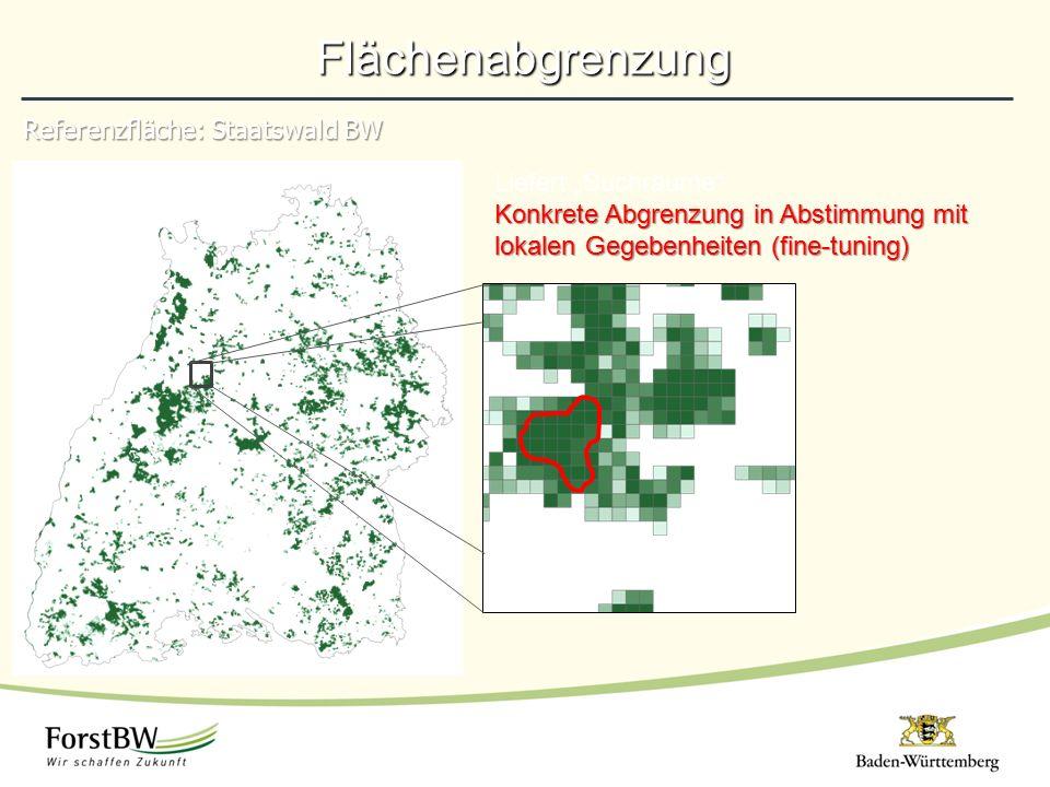 """Referenzfläche: Staatswald BW Flächenabgrenzung Liefert """"Suchräume Konkrete Abgrenzung in Abstimmung mit lokalen Gegebenheiten (fine-tuning)"""