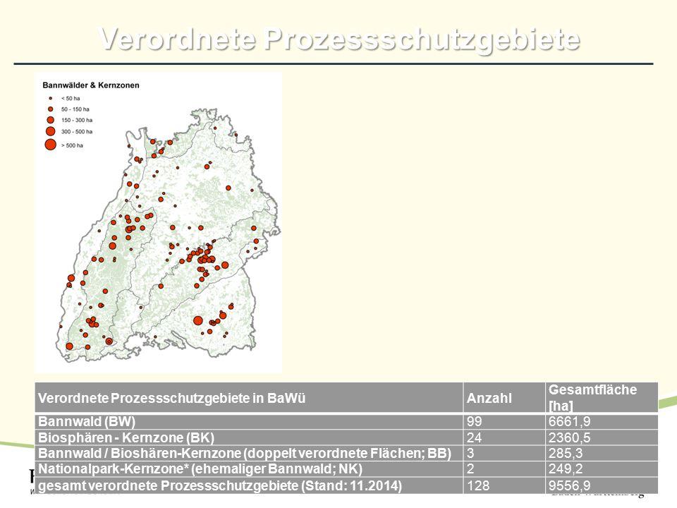 Verordnete Prozessschutzgebiete Verordnete Prozessschutzgebiete in BaWüAnzahl Gesamtfläche [ha] Bannwald (BW)996661,9 Biosphären - Kernzone (BK)242360,5 Bannwald / Bioshären-Kernzone (doppelt verordnete Flächen; BB)3285,3 Nationalpark-Kernzone* (ehemaliger Bannwald; NK)2249,2 gesamt verordnete Prozessschutzgebiete (Stand: 11.2014)1289556,9