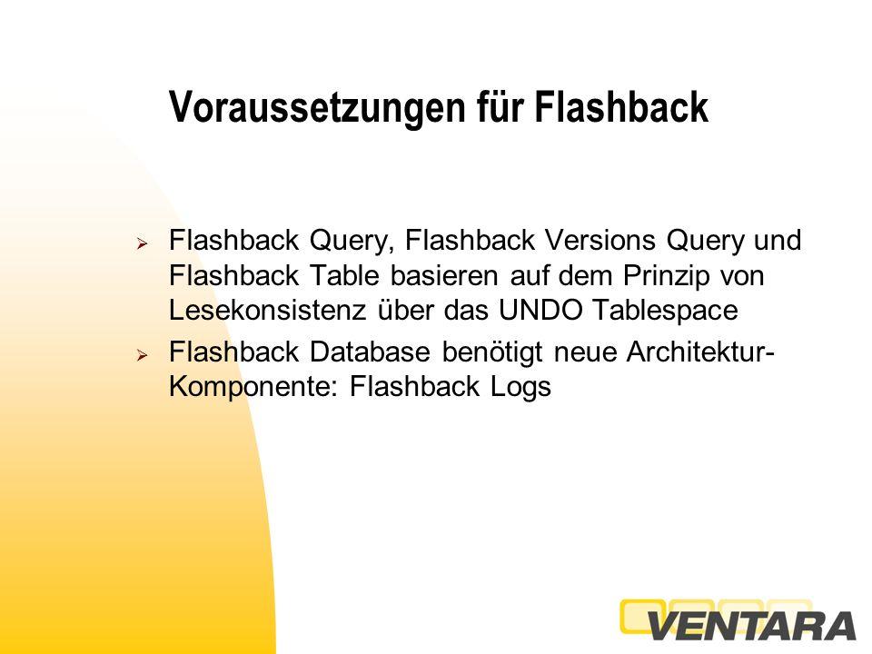 Flashback Query  Ein Zeitpunkt aus der Vergangenheit  Dbms_flashback.enable_at_time( )  Dbms_fashback.enable_at_system_change_number()  Dbms_flashback.disable  Nicht für SYS