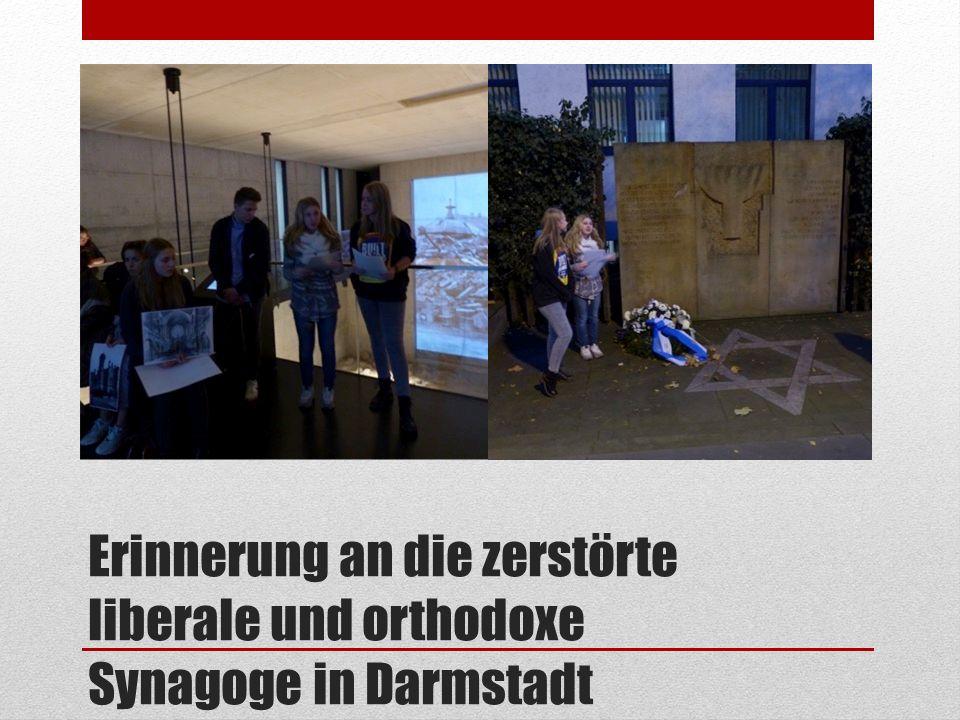 Erinnerung an die zerstörte liberale und orthodoxe Synagoge in Darmstadt