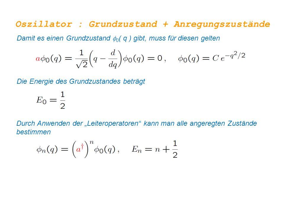 Oszillator : Grundzustand + Anregungszustände Damit es einen Grundzustand  0 ( q ) gibt, muss für diesen gelten Die Energie des Grundzustandes beträg