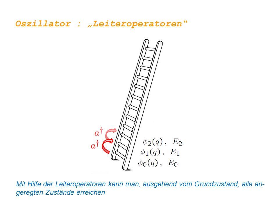 """Oszillator : """"Leiteroperatoren"""" Mit Hilfe der Leiteroperatoren kann man, ausgehend vom Grundzustand, alle an- geregten Zustände erreichen"""