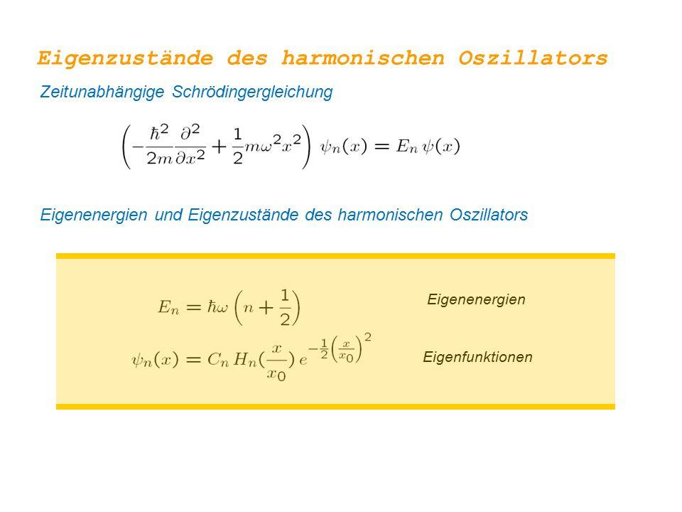 Eigenenergien Eigenfunktionen Eigenzustände des harmonischen Oszillators Zeitunabhängige Schrödingergleichung Eigenenergien und Eigenzustände des harm