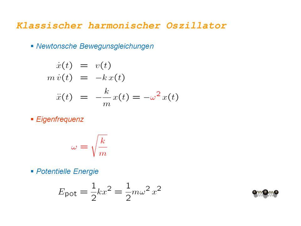  Newtonsche Bewegunsgleichungen  Eigenfrequenz  Potentielle Energie Klassischer harmonischer Oszillator