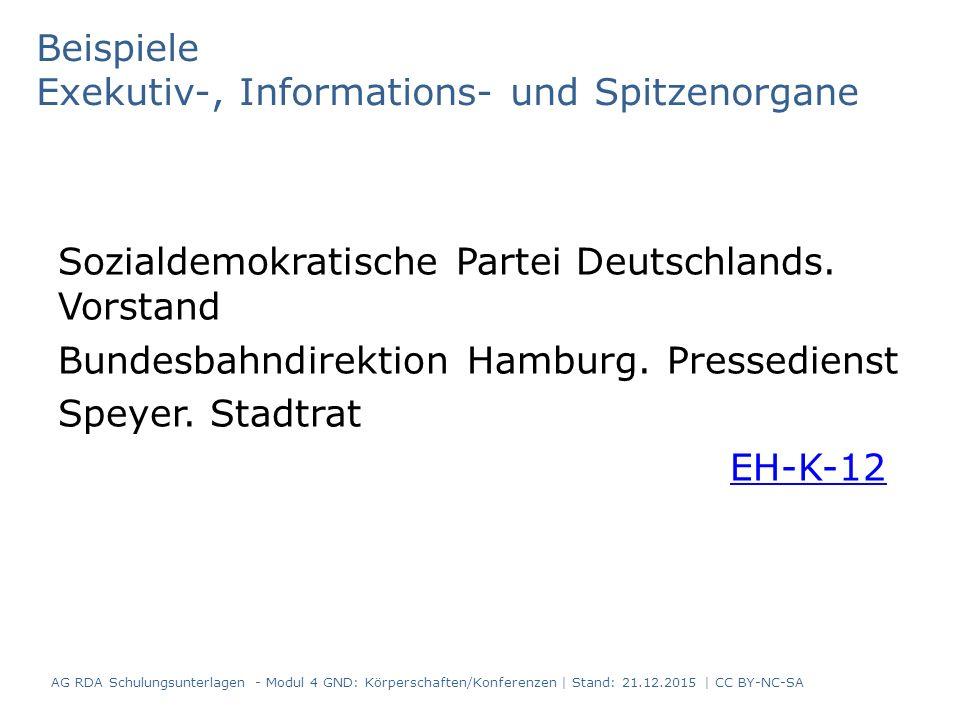 Beispiele Exekutiv-, Informations- und Spitzenorgane Sozialdemokratische Partei Deutschlands.