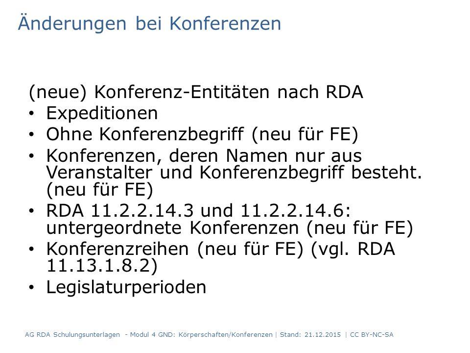 (neue) Konferenz-Entitäten nach RDA Expeditionen Ohne Konferenzbegriff (neu für FE) Konferenzen, deren Namen nur aus Veranstalter und Konferenzbegriff besteht.