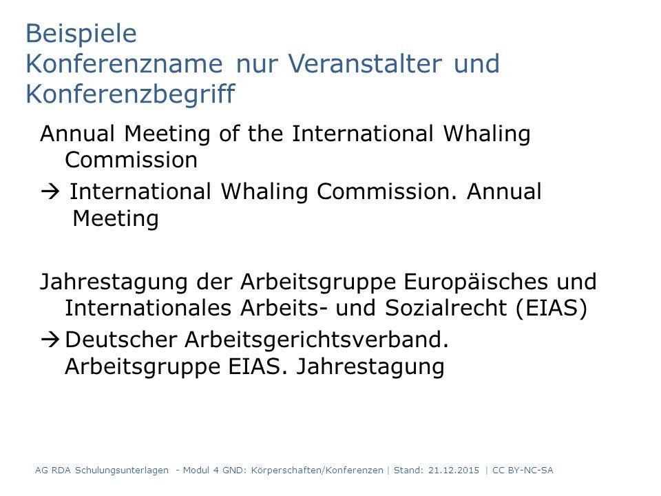 Beispiele Konferenzname nur Veranstalter und Konferenzbegriff Annual Meeting of the International Whaling Commission  International Whaling Commission.