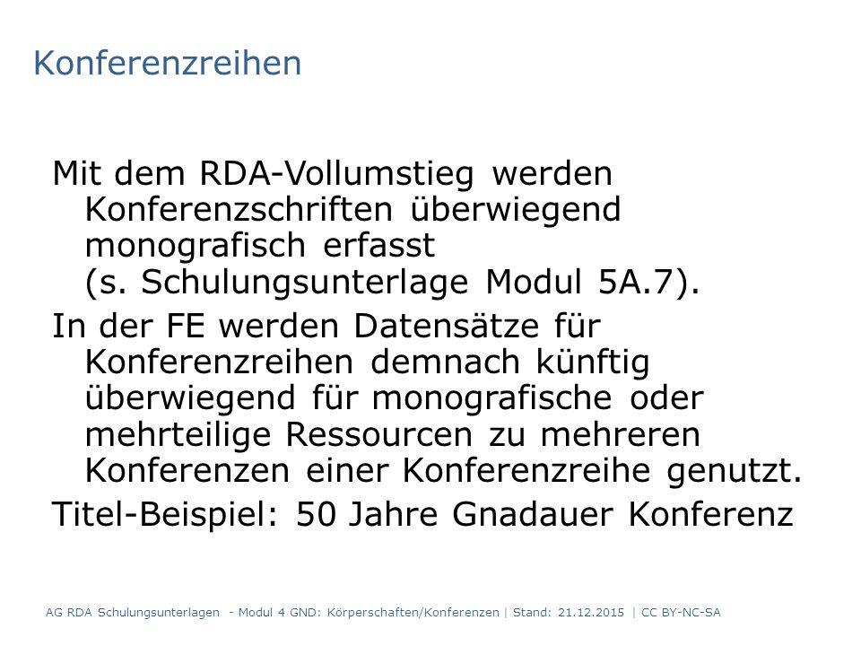 Konferenzreihen Mit dem RDA-Vollumstieg werden Konferenzschriften überwiegend monografisch erfasst (s.